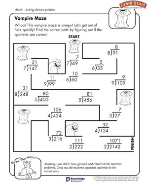 math worksheet : vampire maze  division problem worksheets for kids jumpstart : Grade 4 Division Worksheet