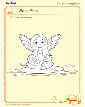 Water fairy printable fairy coloring pages jumpstart for Water fairy coloring pages