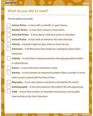 What do You Like to Read - Free Reading Worksheet for Kids