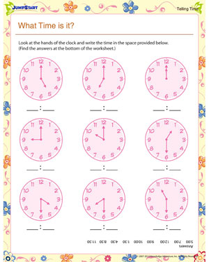 What Time is it? – Elementary Math Worksheet