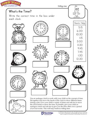 math worksheet : what s the time  learn to tell time  jumpstart : Smart Kids Math Worksheets