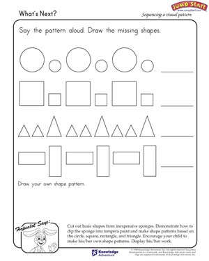 Printables Patterns And Sequences Worksheet whats next learning shapes and patterns jumpstart free kindergarten worksheet for kids