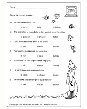 Worksheets English Test Grade  2 whats the good verb i vocabulary test for grade 2 jumpstart free english worksheet kids