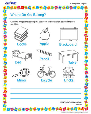 math worksheet : where do you belong  fun printable kindergarten english  : English Worksheets For Kindergarten