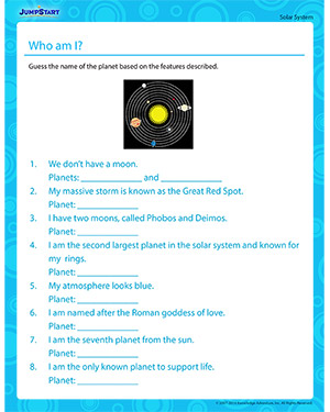 Who am I? - Science Worksheet on Solar system