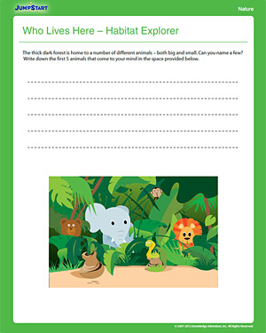 Who Lives Here? Habitat Explorer - Free 1st Grade Science Worksheet