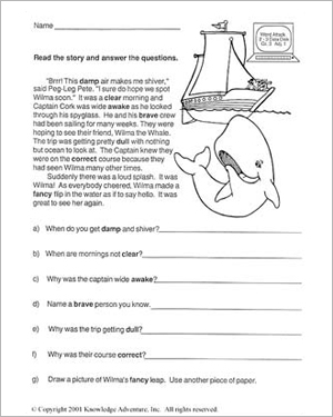 Worksheets Reading Comprehension For Kids Exercises wilmas greeting reading comprehension 3rd grade comprehension