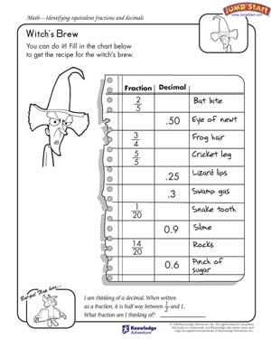 math worksheet : witch s brew  free math worksheets on fractions and decimals  : Fraction Decimal Worksheet