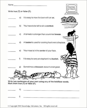 Worksheets 3rd Grade English Worksheets woolly and the cave kids true or false 3rd grade english free worksheet