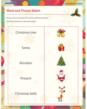 Word and Picture Match – Free Christmas Worksheets Online ...