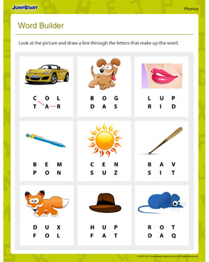 math worksheet : word builder  free fun phonicsworksheet for beginners  jumpstart : Printable Phonics Worksheets For Kindergarten