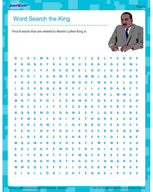 Word Search the King – Martin Luther King Worksheet for Kids ...