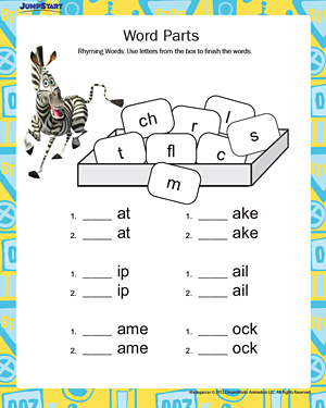 Word Parts – Free, Printable English Worksheets for Kids – JumpStart