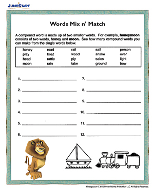 math worksheet : words mix n  match  printable english worksheet for kids  jumpstart : Compound Words Worksheets For Kindergarten