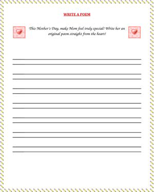 picture relating to Printable Mothers Day Poems known as Publish a Poem Printable Moms Working day Pursuits JumpStart