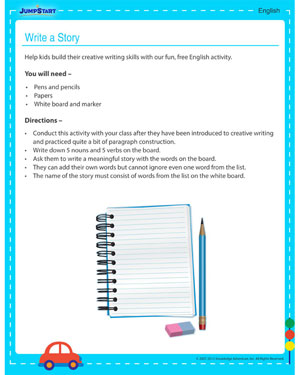 Write a Story! - free 3rd grade activity for kids