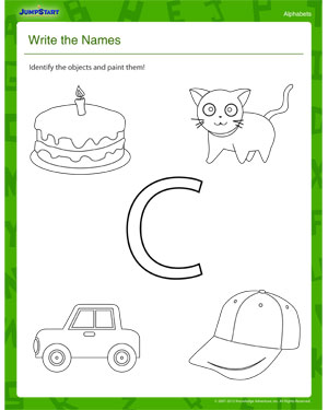 math worksheet : write the names  letter c alphabet worksheet  free printable pdf  : Letter C Worksheets Kindergarten