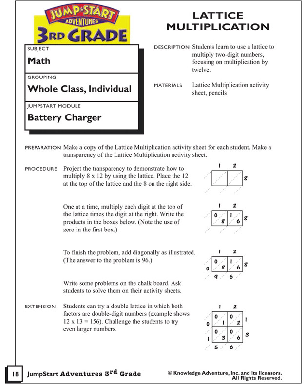 Lattice Method Multiplication Worksheets By 2 Digit Lattice – Multiplication Lattice Method Worksheets