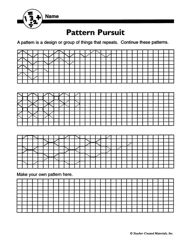 Free Number Pattern Worksheets @ MathSlice