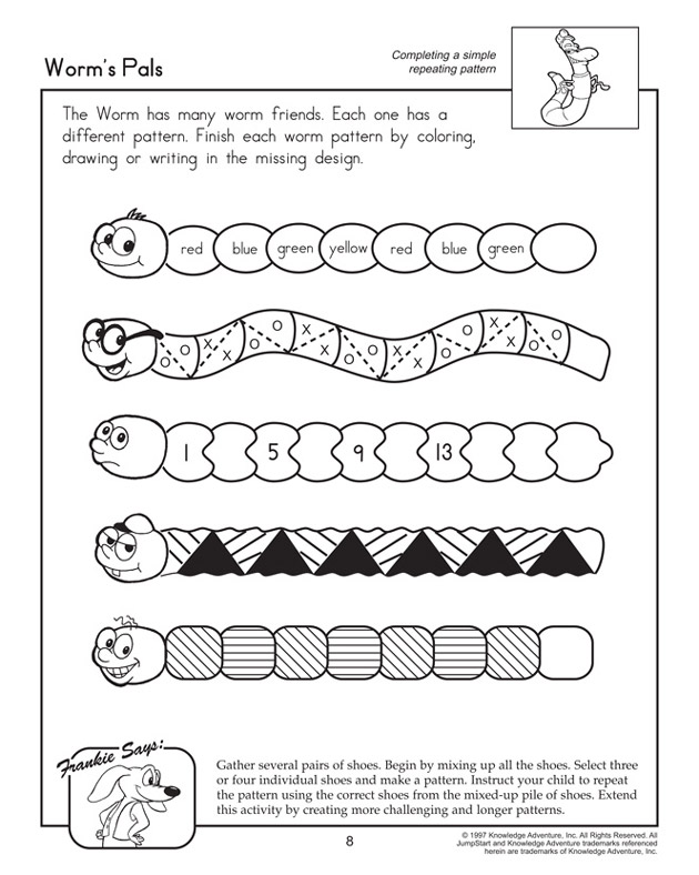 Printables Free Picture Pattern Worksheets pattern worksheets davezan free davezan