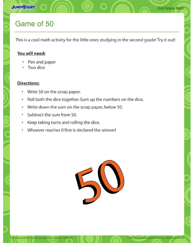 Game of 50 - Free Printable Activity for 2nd Grade