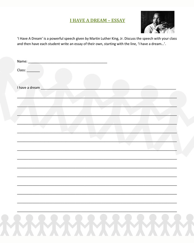 I Have A Dream Essay - Free Social Studies Worksheet for Kids