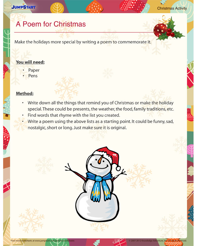 A Poem for Christmas - Free Christmas Activities for Kids