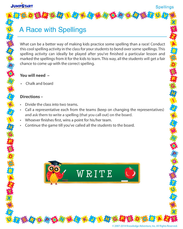A Race with Spellings - Free spelling activity
