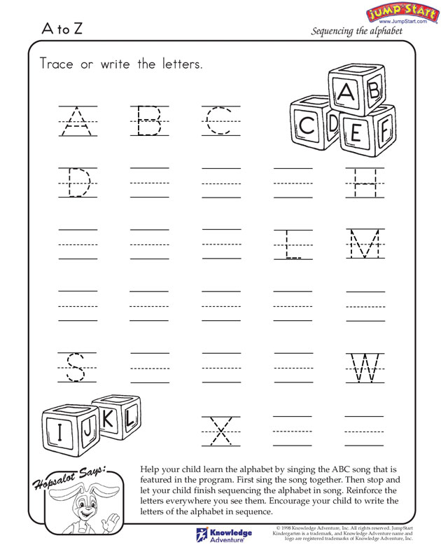 A-to-Z View - English Worksheets for Kindergarten - JumpStart
