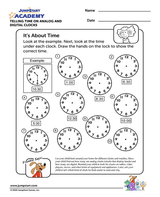 It's About Time - Online Time Worksheet for Kindergarten
