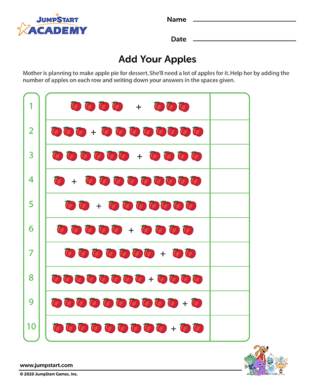 Add Your Apples - Free Math Worksheet for 1st Grade