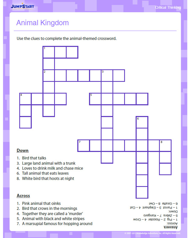 Animal Kingdom - Free Critical Thinking Worksheet for Kindergarten