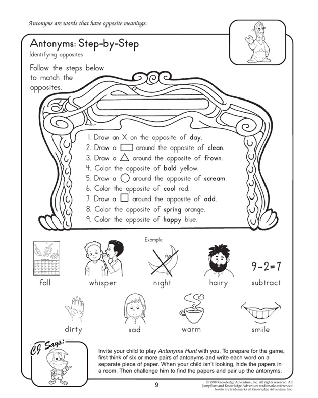 Antonyms: Step-by-Step - Free 2nd Grade English Worksheet