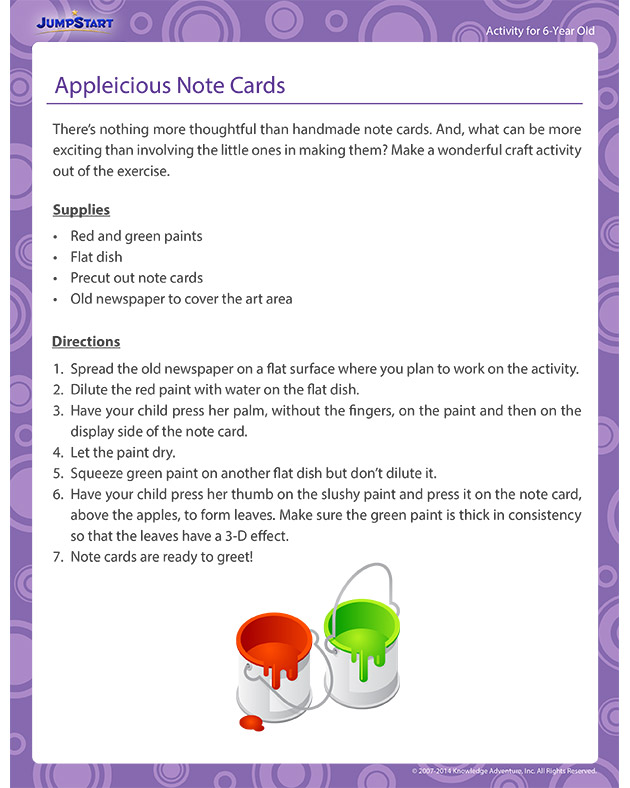 Appleicious Note Cards - Activities for 6-year olds