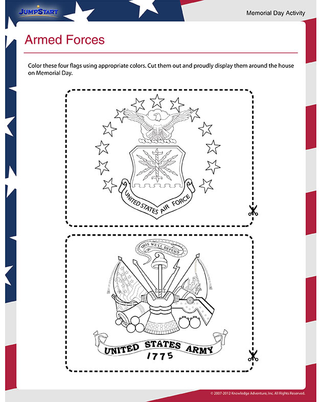 Armed Forces – Printable Memorial Day Activity for Kindergarten