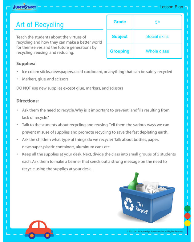 Art of Recycling - lesson plan for kids