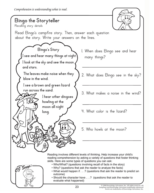 Bingo the Storyteller - 2nd Grade Reading and Comprehension Worksheet