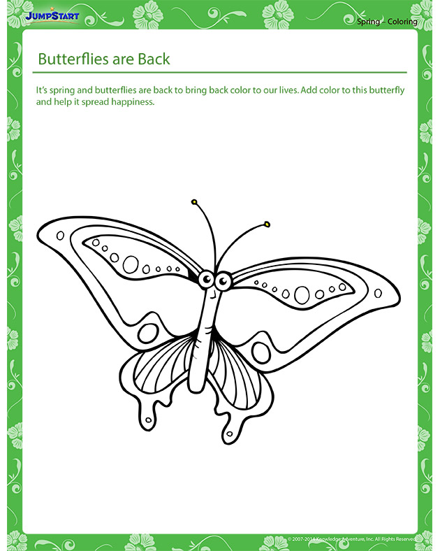 Butterflies are Back - Spring themed coloring page