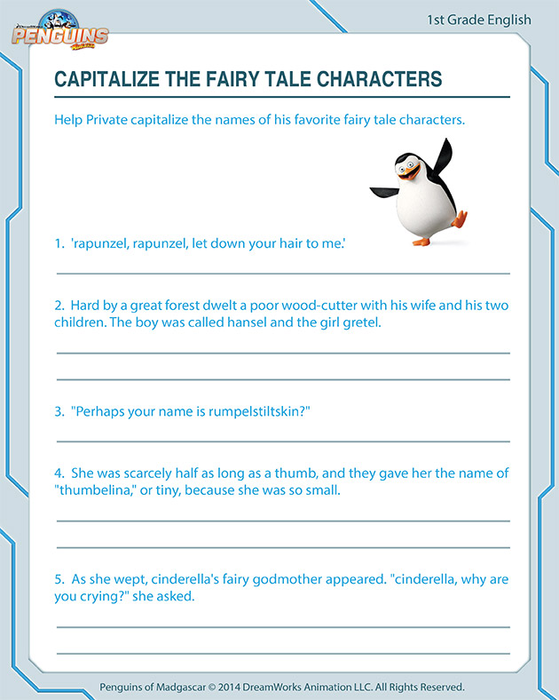 Capitalize the Fairy Tale Characters - Free worksheet for first graders