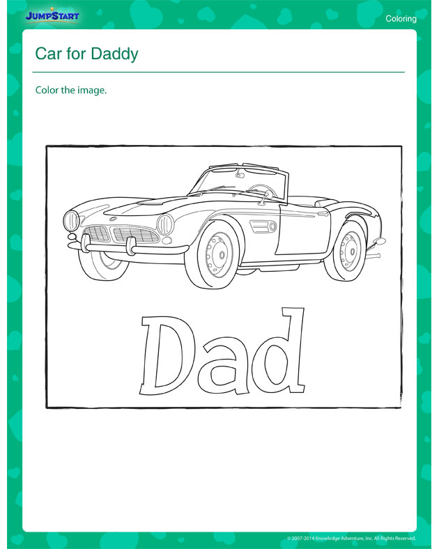 Car for Daddy – Father's Day Printable Coloring Worksheet