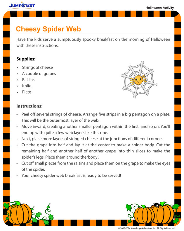 Cheesy Spider Web - Downloadable Halloween Activity for Kids