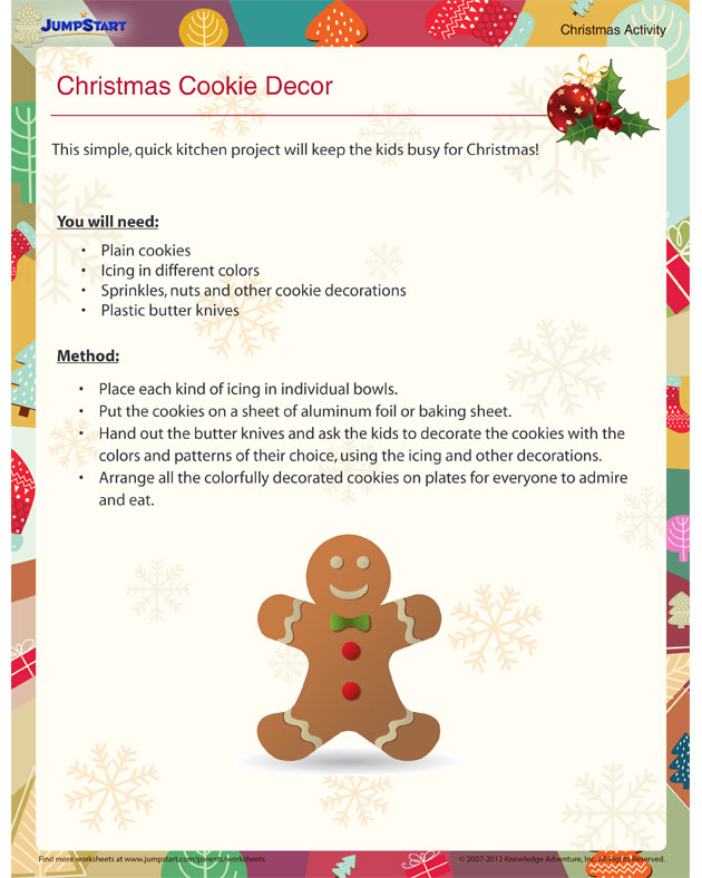Christmas Cookie Décor - Free Christmas Activities for Kids