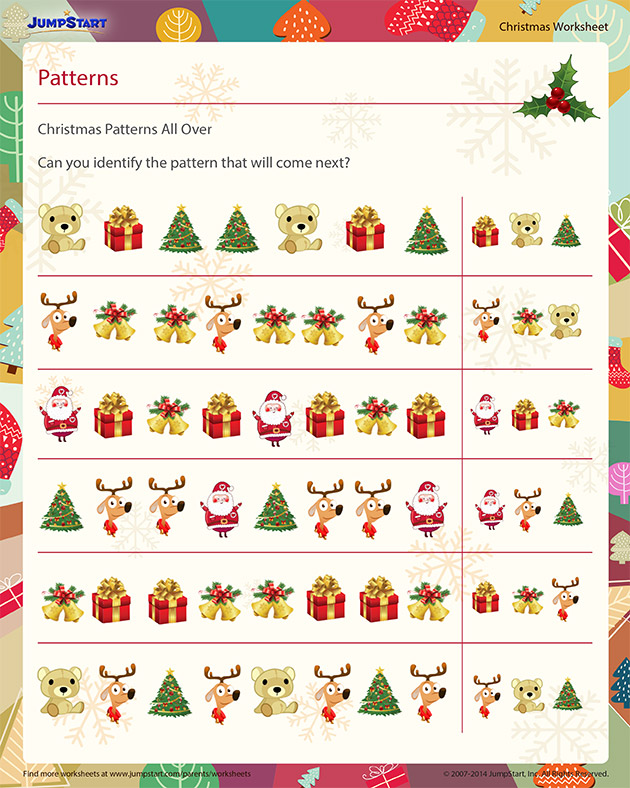 Christmas Patterns All Over - Download Free Christmas Worksheet