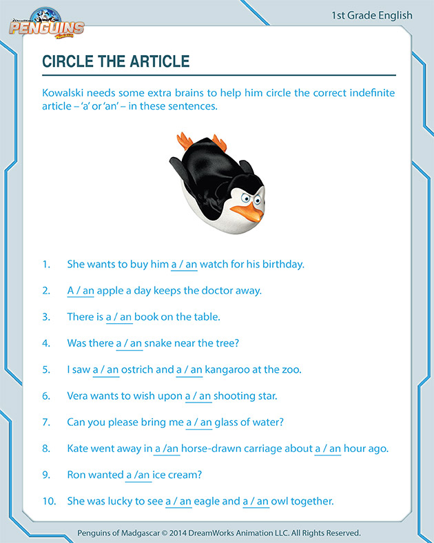 Circle the Article - Free worksheet for first graders