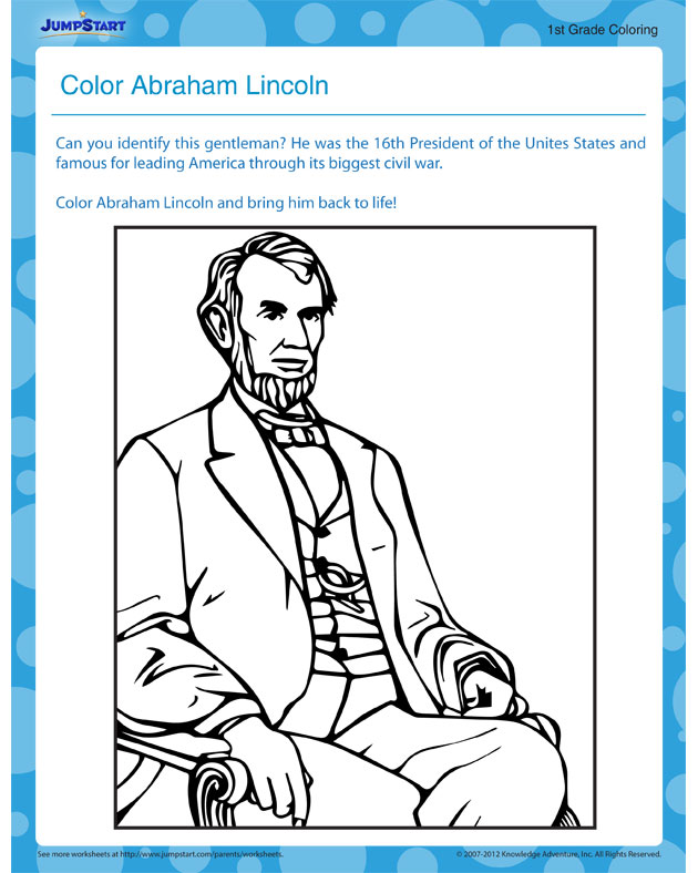 Color Abraham Lincoln - download free printable social studies worksheet