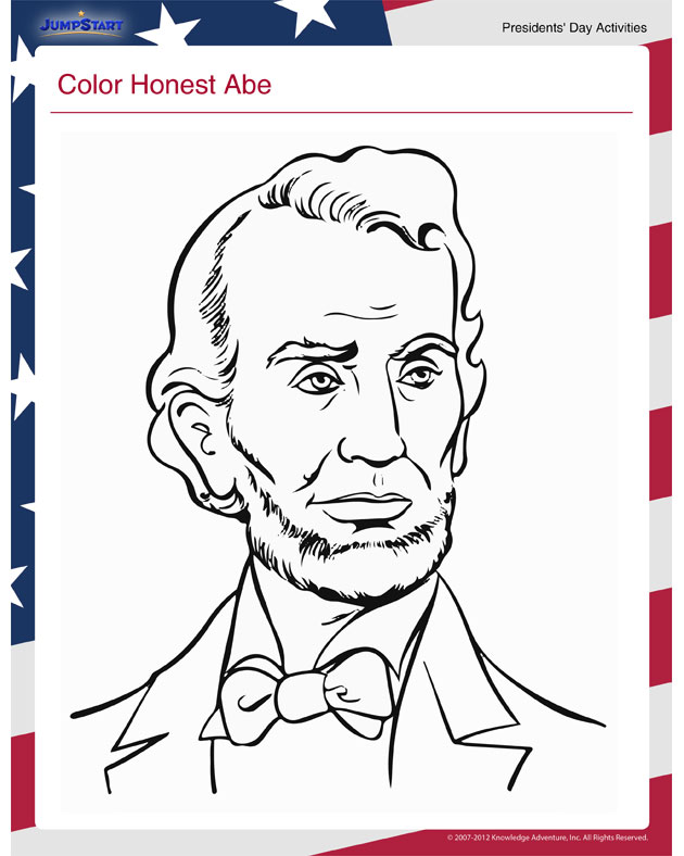 Color Honest Abe - Free Online Kids' Activity for Presidents' Day