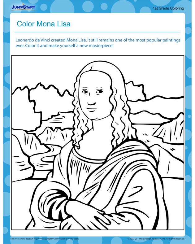 Color Mona Lisa - download free printable social studies worksheet