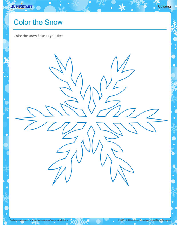 Color the Snow - Coloring Winter Worksheet