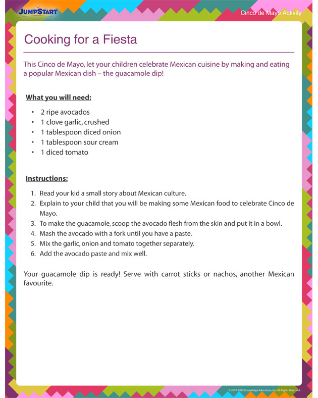 Cooking for a Fiesta –Cinco de Mayo Activity Worksheet