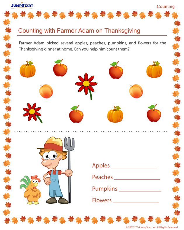 Counting with Farmer Adam on Thanksgiving - Free holiday worksheets for kids
